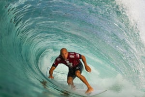 <strong>Rio de Janeiro, Brazil </strong>Kelly Slater of the USA riding a barrel during Round 1 of the Oi Rio Pro surfing event as part of the World Surf League in Barra De Tijuca