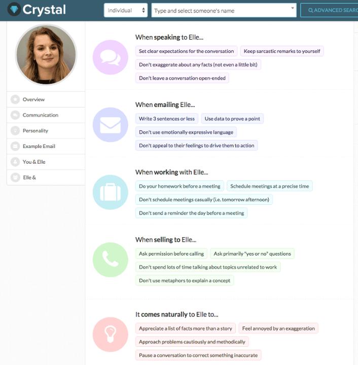 A screenshot of Elle Hunt's Crystal profile