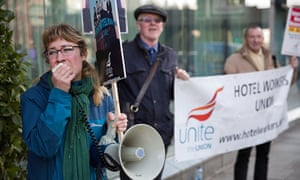 Unite members protest in support of hotel housekeeping staff