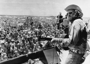 Willie Nelson playing at his annual 4 July Picnic festival in 1974