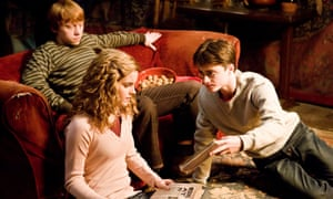 Hermione, Harry and Ron making a good attempt at looking like they are revising. Well, maybe not Ron...