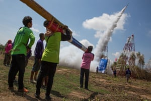 Villagers from across the region build rockets which are judged on size, distance and colour