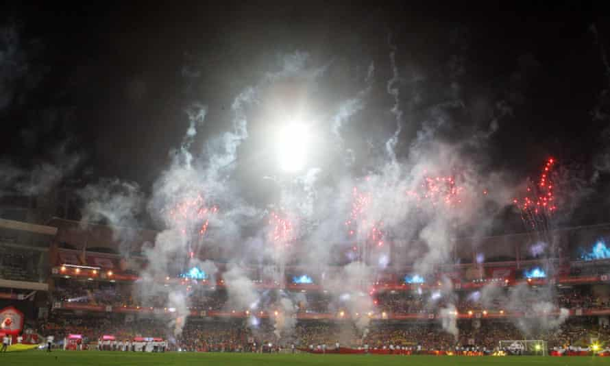 The closing ceremony of the inaugural Indian Super League season in Mumbai in December last year.