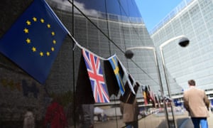 EU and British flags outside the European commission building in Brussels.