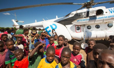 A Russian Mi8 helicopter being used by the United Nations, World Food Program to deliver food aid to areas still cut off by the flooding, in Malawi