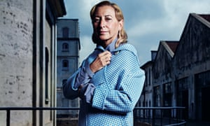 Miuccia Prada outside her foundation's new exhibition complex in Milan designed by Rem Koolhaas.