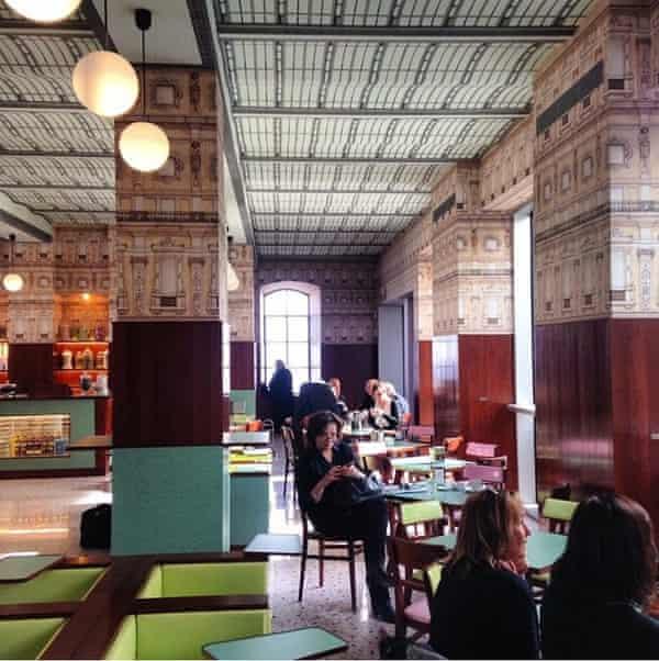 The Wes Anderson designed bar in the Fondazione Prada, Milan.
