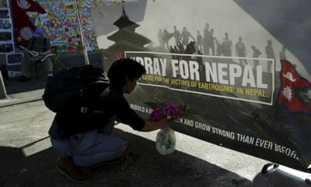 'Pray for Nepal' banner