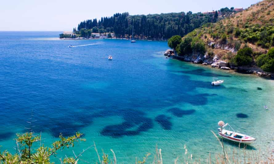 View toward Kouloura on the north-east coast of Corfu, Greek Islands