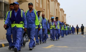 Foreign labourers building al-Wakrah football stadium.
