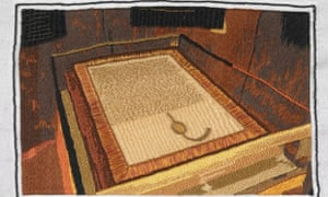 An embroidery of a 1297 copy of Magna Carta that appears on the Magna Carta Wikipedia page. The work was stitched by Cathy Johnson from the Embroiderers' Guild. British Library