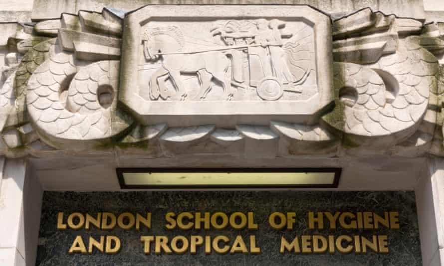 A carving of Apollo and Artemis riding a chariot above the main entrance of the London School of Hygiene & Tropical Medicine