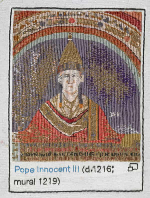 Pope Innocent III stitched by Anthea Godfrey, of the Embroiderers' Guild.