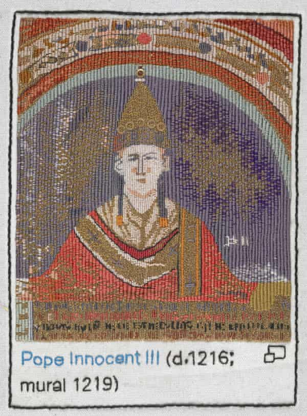 Pope Innocent III stitched by Anthea Godfrey, Embroiderers' Guild (Eastern Region).