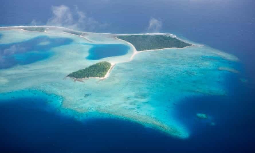 Aerial View of Marshall Islands, Ailinglaplap Atoll, Micronesia, Pacific Ocean