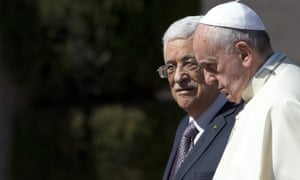 Pope Francis is welcomed by Palestinian president, Mahmoud Abbas, upon his arrival to the West Bank city of Bethlehem.