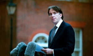 Peter Mandelson announcing one of his resignations, in 2001.