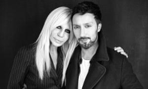Donatella Versace with creative director A Vaccarello.
