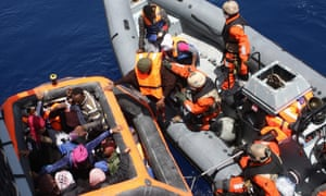 German soldiers from the frigate Hessen rescue shipwrecked people from the Mediterranean off the Italian island of Lampedusa.