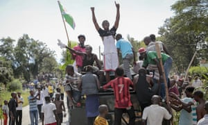 Demonstrators celebrate the attempted military coup in Bujumbura.