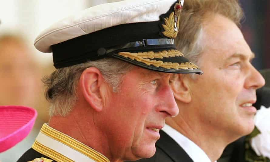 The Prince of Wales with Tony Blair at a Falklands war commemoration in London.