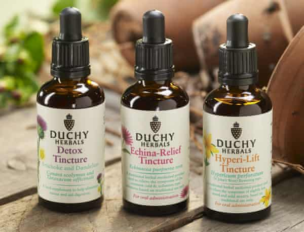 Herbal tinctures by Duchy Originals, the Prince of Wales's company.
