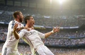 Cristiano Ronaldo celebrates with Sergio Ramos after scoring the opening goal from the spot.