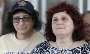 Susan and Howard Zemser, the parents of U.S. Naval Academy Midshipman Justin Zemser, speak to the media outside their home in New York, Wednesday, May 13, 2015. Zemser, 20, who was on leave and heading home to Rockaway Beach, New York, was killed when an Amtrak passenger train derailed and overturned in Philadelphia on the nation's busiest rail corridor Tuesday night.  (AP Photo/Seth Wenig)