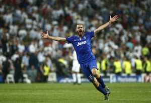 Juventus' Leonardo Bonucci can't contain his joy after the final whistle goes.