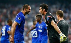 Juventus' Giorgio Chiellini and Gianluigi Buffon share their happiness.