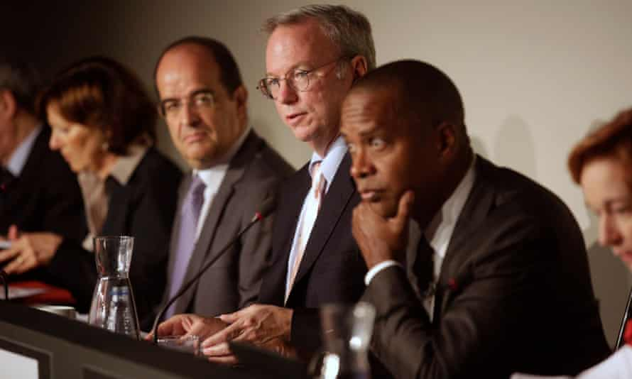 Google chief Eric Schmidt (centre) in Madrid, leading a public consultation on the corporation's 'right to be forgotten' European tour.