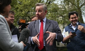 Michael Gove speaks to members of the media