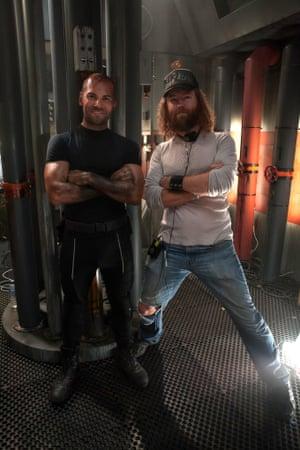 Daniel Macpherson and Shane Abbess on set.