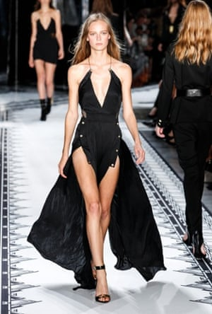 A model on the Versus Versace Spring 2015 catwalk