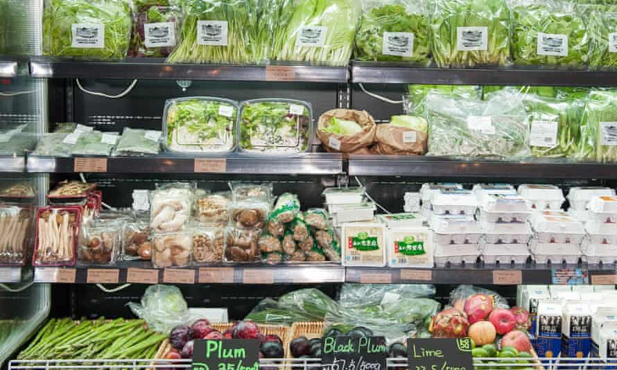 organic vegetables in a Chinese supermarket