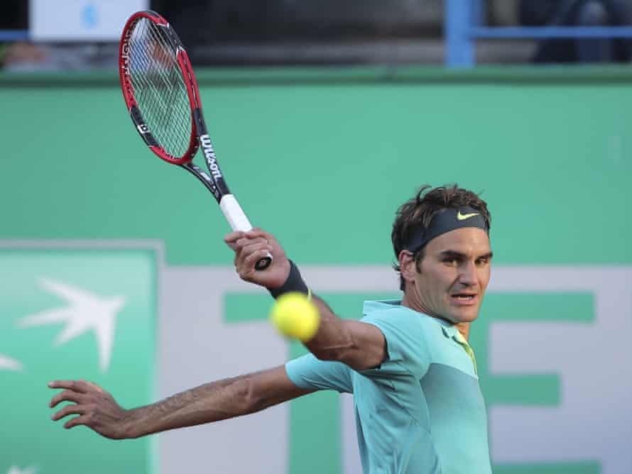 The Federer topspin backhand. Photograph: STR/AP