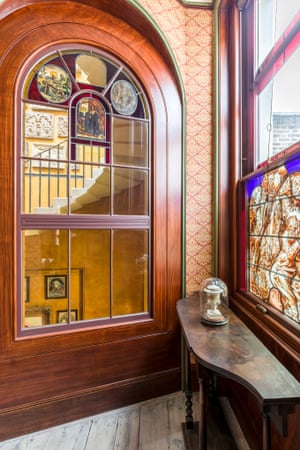 On the left the north window of the Oratory, and on the right, one of the windows looking onto the staircase. Both feature original stained glass which has been in storage since the early twentieth century.