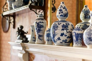 The blue-and-white china displayed on the mantelpiece in the Bath Room, which presumably belonged to Mrs Soane. The china was only rediscovered in the 1980s, having been moved after sustaining damage during the Second World War.