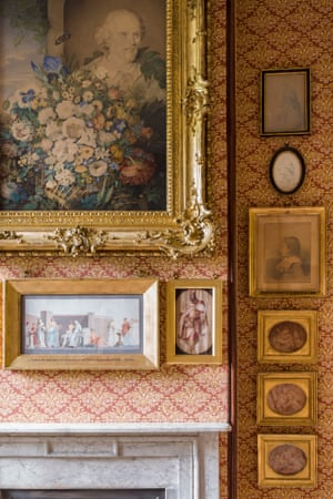 Close-up of the picture arrangement on the west wall of Mrs Soane's Morning Room. The picture hang was altered by Soane after his wife's death, including the addition of the large water-colour 'Shakespeare's Flowers' by Clara Maria Pope, based on the bust of the Soane collection.