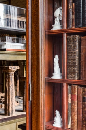 Detail of the west bookcase in the Model Room.