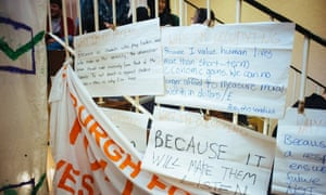 Student occupy Charles stewart house at Edinburgh university, to protest against the decision to not divest