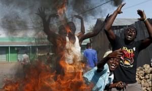 Anti government protesters on the streets of Bujumbura, Burundi.