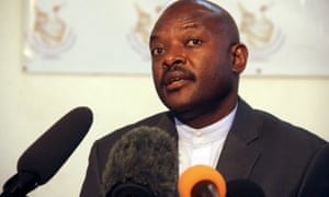 President Pierre Nkurunziza speaks to the media after he registered to run for a third five-year term in office.