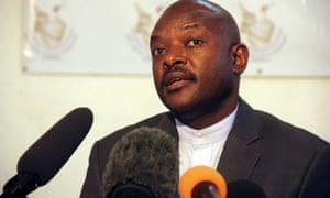 Pierre Nkurunziza speaks to the media after he registered to run for a third five-year term in office.