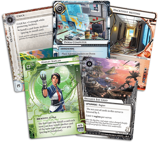 Five cards from Netrunner's Breaker Bay expansion.