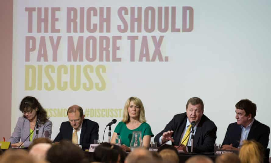 Guardian Live/Discuss debate the future of taxation at Manchester Central Library 13 May 2015. Panel l-r Lydia Ebdon, Mike Emmerich, Penny Haslam, Stephen Herring and John Ashcroft
