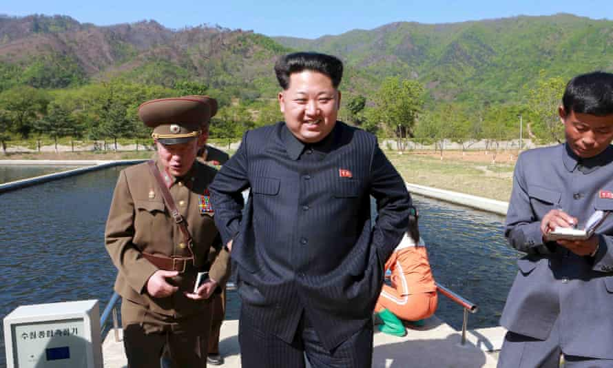 North Korean leader Kim Jong-un visits the Anbyon fish farm under in a newly released but undated photograph.