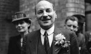 Clement Attlee celebrates Labour's postwar landslide in 1945.