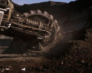 GREECE. Megalopolis. Open caste lignite mine and excavator