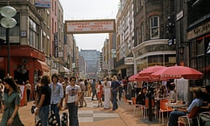 Soho's fashionable Carnaby Street in the 1970s.